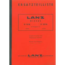 Ersatzteilliste Lanz D 1616...