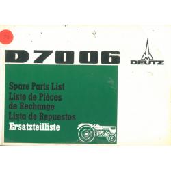 Deutz D 7006 Ersatzteilliste
