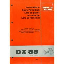 Deutz DX 85 Ersatzteilliste